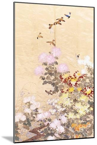 A Hanging of Gold Lame, Embroidered in Silks with Finches Perched Amongst Pink, Yellow and White?--Mounted Giclee Print