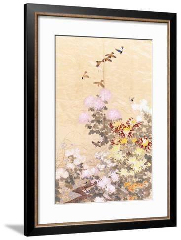 A Hanging of Gold Lame, Embroidered in Silks with Finches Perched Amongst Pink, Yellow and White?--Framed Art Print