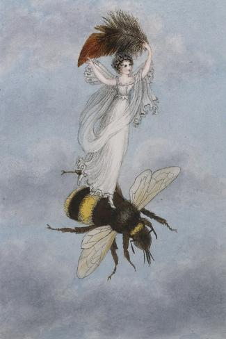 A Fairy Carrying a Feather Standing on a Bee-Amelia Jane Murray-Stretched Canvas Print