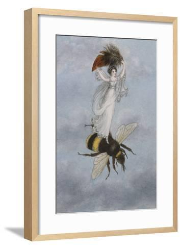 A Fairy Carrying a Feather Standing on a Bee-Amelia Jane Murray-Framed Art Print