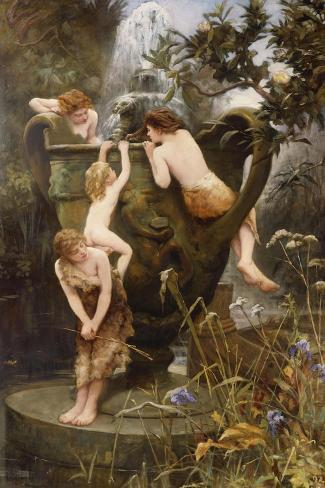 The Fountain of Youth-Charles Napier Kennedy-Stretched Canvas Print