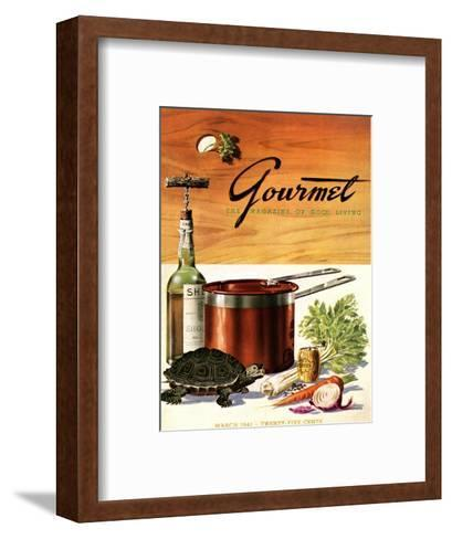 Gourmet Cover - March 1941-Henry Stahlhut-Framed Art Print