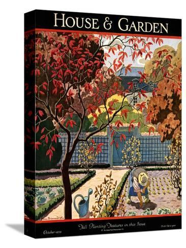 House & Garden Cover - October 1926-Pierre Brissaud-Stretched Canvas Print