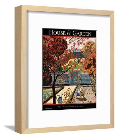 House & Garden Cover - October 1926-Pierre Brissaud-Framed Art Print
