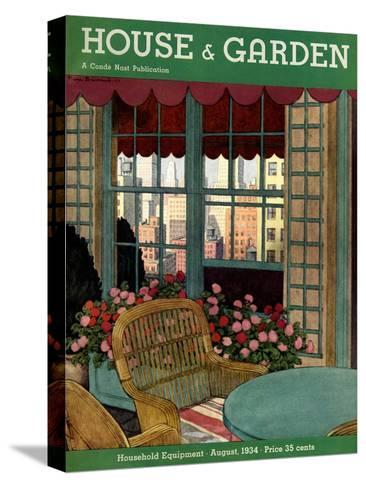 House & Garden Cover - August 1934-Pierre Brissaud-Stretched Canvas Print