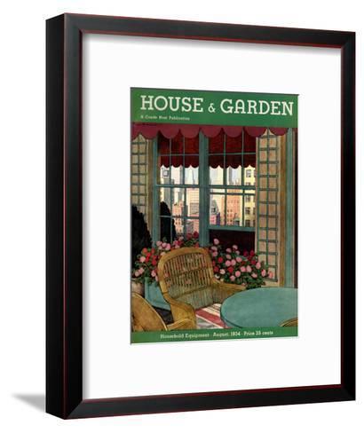 House & Garden Cover - August 1934-Pierre Brissaud-Framed Art Print
