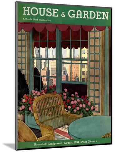 House & Garden Cover - August 1934-Pierre Brissaud-Mounted Premium Giclee Print