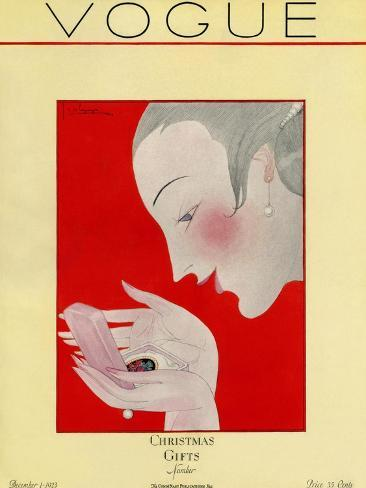 Vogue Cover - December 1923-Georges Lepape-Stretched Canvas Print