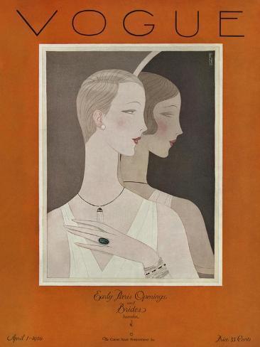Vogue Cover - April 1926-Eduardo Garcia Benito-Stretched Canvas Print