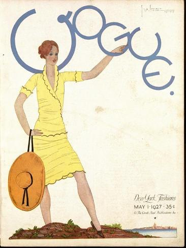 Vogue Cover - May 1927-Georges Lepape-Stretched Canvas Print
