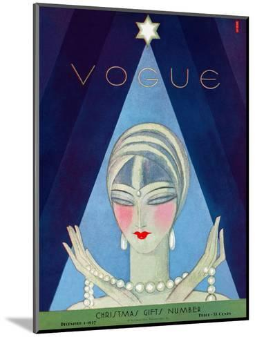 Vogue Cover - December 1927-Eduardo Garcia Benito-Mounted Premium Giclee Print