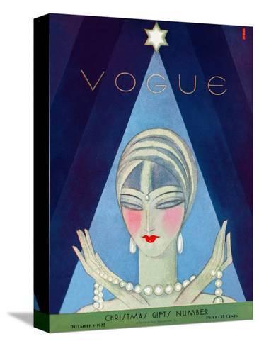 Vogue Cover - December 1927-Eduardo Garcia Benito-Stretched Canvas Print