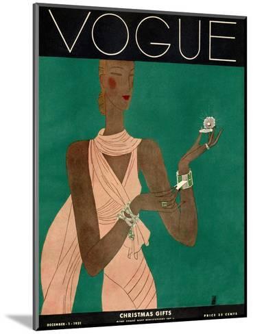 Vogue Cover - December 1931-Eduardo Garcia Benito-Mounted Premium Giclee Print