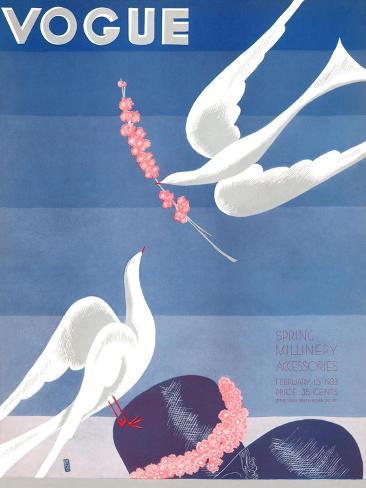 Vogue Cover - February 1933-Eduardo Garcia Benito-Stretched Canvas Print