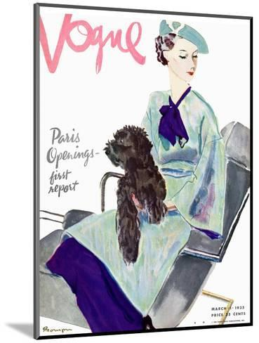 Vogue Cover - March 1935-Pierre Mourgue-Mounted Premium Giclee Print