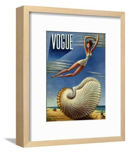 Vogue Cover - July 1937 - Surreal Shell-Miguel Covarrubias-Framed Art Print