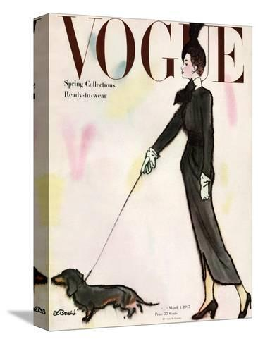 Vogue Cover - March 1917 - Dachshund Stroll-Ren? R. Bouch?-Stretched Canvas Print