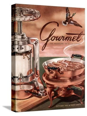 Gourmet Cover - October 1952-Henry Stahlhut-Stretched Canvas Print