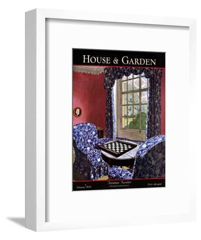 House & Garden Cover - February 1929-Pierre Brissaud-Framed Art Print