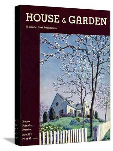 House & Garden Cover - November 1931-Pierre Brissaud-Stretched Canvas Print