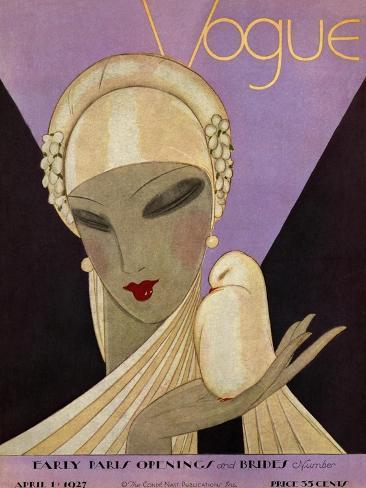 Vogue Cover - April 1927-Eduardo Garcia Benito-Stretched Canvas Print
