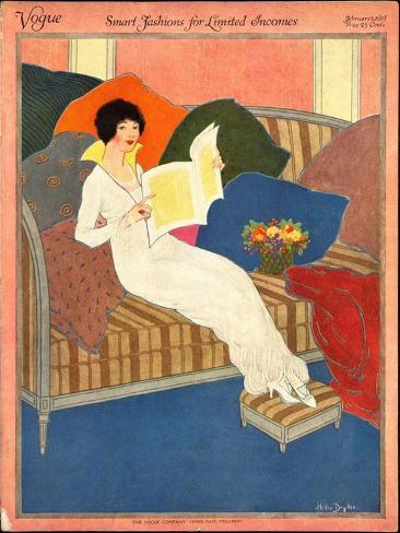 Vogue Cover - February 1913-Helen Dryden-Stretched Canvas Print