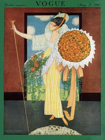 Vogue Cover - May 1914-George Wolfe Plank-Stretched Canvas Print