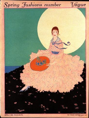 Vogue Cover - April 1915-Helen Dryden-Stretched Canvas Print