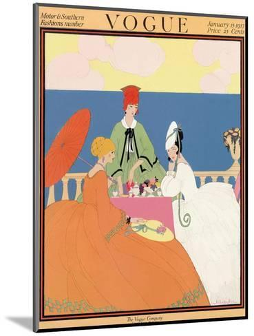 Vogue Cover - January 1917-Helen Dryden-Mounted Premium Giclee Print