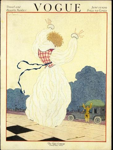 Vogue Cover - June 1919-Georges Lepape-Stretched Canvas Print