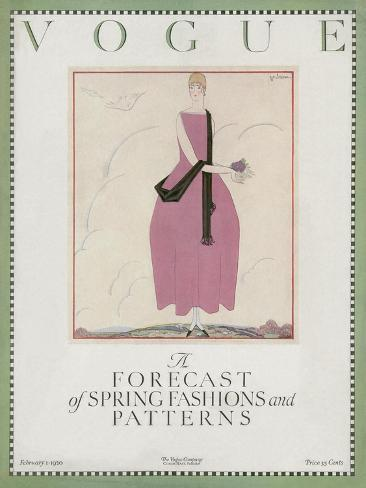 Vogue Cover - February 1920-Georges Lepape-Stretched Canvas Print