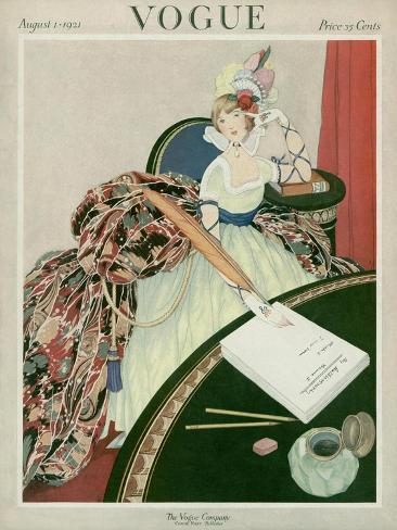 Vogue Cover - August 1921-George Wolfe Plank-Stretched Canvas Print