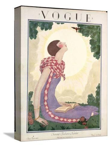 Vogue Cover - June 1925-Georges Lepape-Stretched Canvas Print