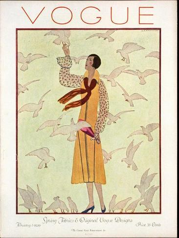 Vogue Cover - February 1926-Andr? E. Marty-Stretched Canvas Print