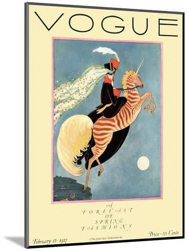 Vogue Cover - February 1927-George Wolfe Plank-Mounted Premium Giclee Print