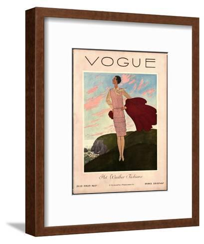 Vogue Cover - July 1927-Pierre Brissaud-Framed Art Print