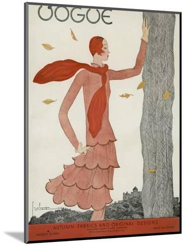 Vogue Cover - August 1929-Georges Lepape-Mounted Premium Giclee Print