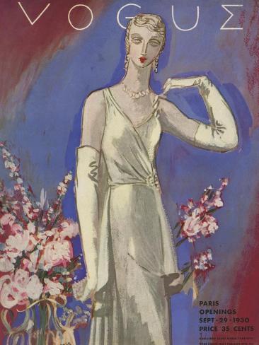 Vogue Cover - September 1930-Eduardo Garcia Benito-Stretched Canvas Print