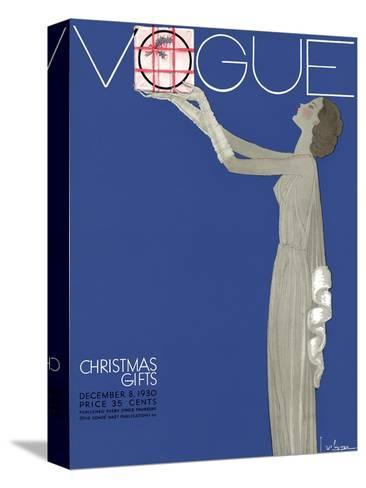 Vogue Cover - December 1930-Georges Lepape-Stretched Canvas Print
