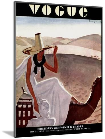 Vogue Cover - December 1930-Pierre Mourgue-Mounted Premium Giclee Print