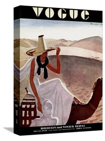 Vogue Cover - December 1930-Pierre Mourgue-Stretched Canvas Print