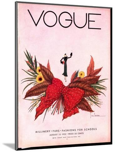 Vogue Cover - August 1932-Georges Lepape-Mounted Premium Giclee Print