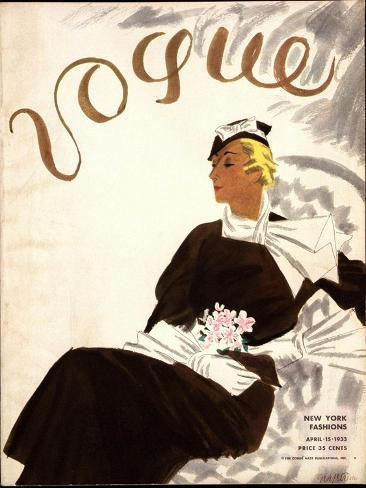 Vogue Cover - July 1933-R.S. Grafstrom-Stretched Canvas Print