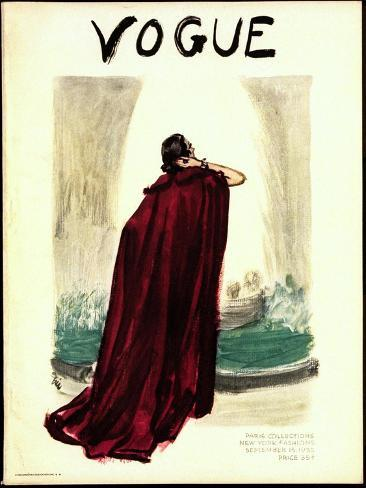 "Vogue Cover - September 1935-Carl ""Eric"" Erickson-Stretched Canvas Print"