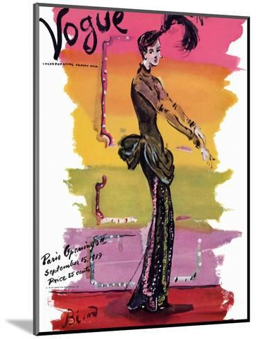 Vogue Cover - September 1939-Christian Berard-Mounted Premium Giclee Print