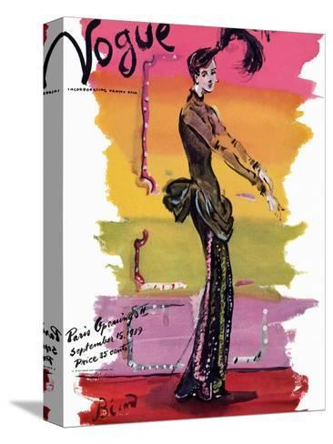 Vogue Cover - September 1939-Christian Berard-Stretched Canvas Print