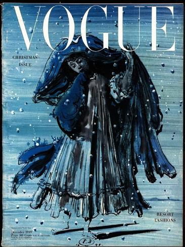 Vogue Cover - December 1948-Eugene Berman-Stretched Canvas Print