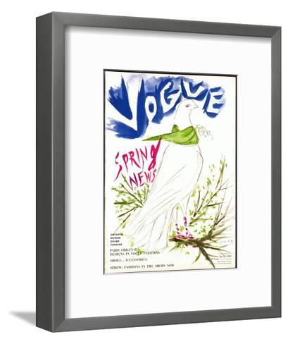 Vogue Cover - March 1949-Marcel Vertes-Framed Art Print