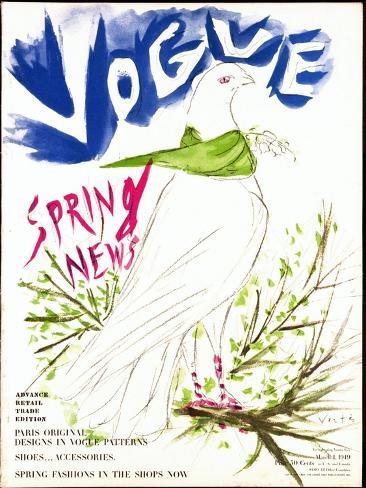 Vogue Cover - March 1949-Marcel Vertes-Stretched Canvas Print