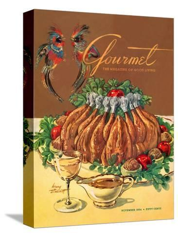 Gourmet Cover - November 1954-Henry Stahlhut-Stretched Canvas Print